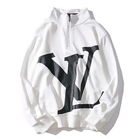 LV Louis Vuitton Trending Women Men Stylish Print Half Zipper Long Sleeve Sweater Top Sweatshirt White