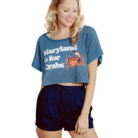 Letter Graphic Printed Round Neck Short Sleeves Cropped Top