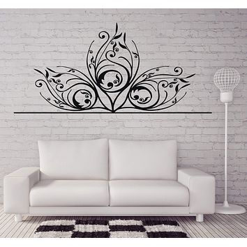 Vinyl Decal Beautiful Delicate Carving Floral Ornament Wall Sticker for Media Room or Decor Unique Gift (n410)