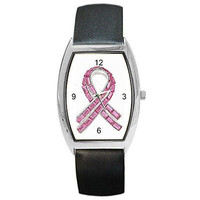 Breast  Cancer Pink Ribbon on Barrel Watch w/ Leather