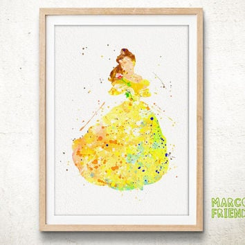Princess Belle, Beauty and the Beast - Watercolor, Art Print, Home Decor, Nursery Print, Wall Art, Gift Idea, Disney Poster