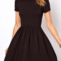 Casual Short Sleeve A Line Dress - Black