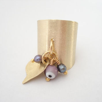 Unique Handmade Metalwork Ring-Dangle Ring-Adjustable Cuff Ring-Gold Bronze Ring Matte Faced-Multistone Opalescent Pearls and Evil Eye Bead