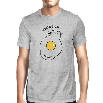 Meowgical Cat And Fried Egg Mens Grey Shirt