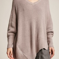Marled Knit Asymmetrical Zipper Sweater
