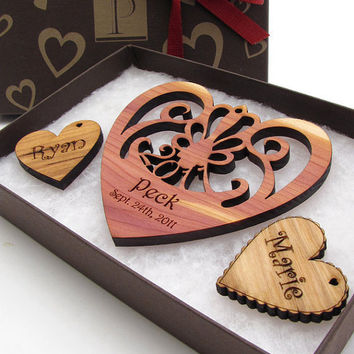 Personalized Wedding Ornament Set with by TimberGreenWoods on Etsy