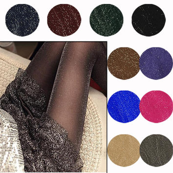 1 Pair New Arrival Sparkling Fashion Sheer Shimmer Tights Stockings Sparkle Pantyhose Shiny Glitter Women Lady Sexy Hot Sales