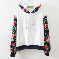 Fashion Floral Long Sleeve Shirt Top Sweater Hoodie