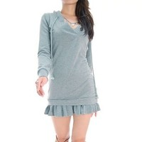 Amazon.com: Grey V-Neck Hoodie Sweater Dress: Clothing