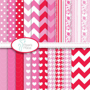 Valentines Day Scrapbook Paper Printable by pipersplace1 on Etsy