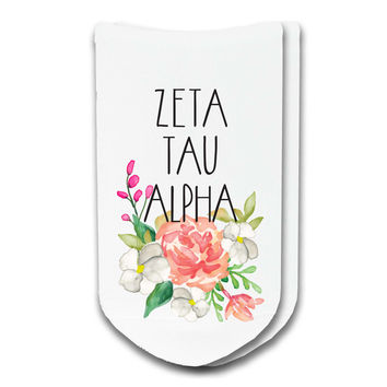 Zeta Tau Alpha Watercolor Floral No-Show Socks