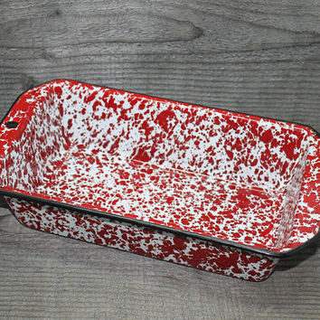 Enamelware Red White Marble Bread Pan Splatter Pattern