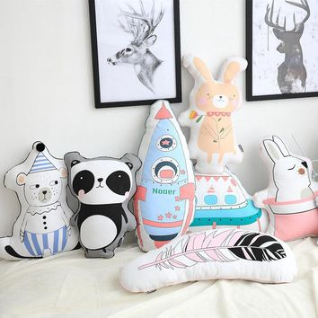 D Cool Washable rabbit panda spaceship rocket feather Sleep Pillow Baby Child Kids Plush Toy Cushion Doll Babies Lovely Toys