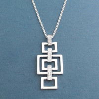 Modern, Square, Cubic, Silver, Necklace, Dangling, Necklace, Birthday, Best friends, Wedding, Mom, Gift, Jewelry