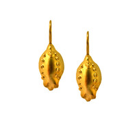 Gold Pomegranate Earrings, Jewish Holiday, Gold Hanging Earrings, 24k Gold Earrings, Pomegranate Jewelry, Organic Jewelry, Fruit Earrings