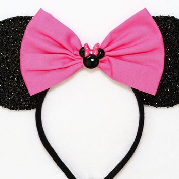 Black Sparkly Minnie Ears with Bubblegum Pink Bow