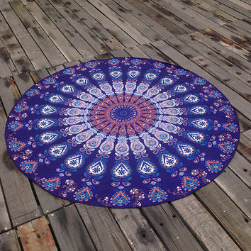 Boho Blue Ethnic Summer Beach Towel Printed Bohemian Cover Ups Scarves Wrap Pareo