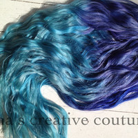 "20""Ombre Hair,Tie dye Hair, Festival Hair, Hair Extensions, Steel Lavender and Icy Blue Green"