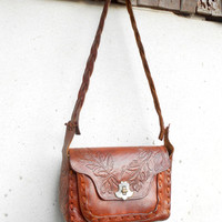 Vintage Hand Tooled Brown Leather Purse Bag // Shoulder Bag // Medium