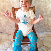 First Birthday Outfit - Personalized - Girl Cake Smash Outfit - Shirt and Leg Warmers - Headband Set - Blue Glitter Set - Silver Glitter