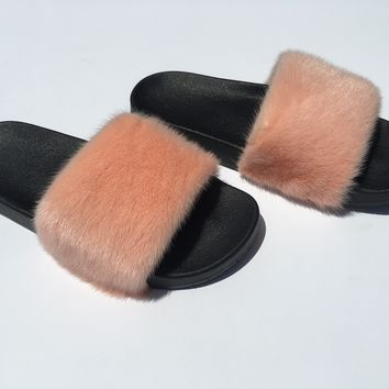 Peach mink fur slides mink slippers