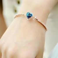 Blue Heart Shape Crystal Chain Bracelet