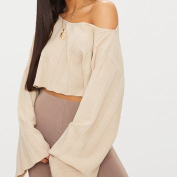 Stone Wide Sleeve Stripe Jumper