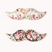 Floral Mustache Hair Clips | FOREVER21 - 1055878156