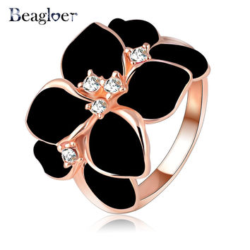 Beagloer Hotting Sale Jewelry Ring With Rose Gold Plated Austrian Crystal Black Enamel Flower/Wedding Ring For Women Ri-HQ1006