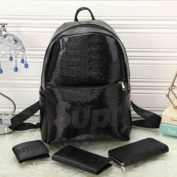 Perfect LV x Supreme Leather Backpack Travel Bag Purse Wallet Card Bag Set Four-Piece