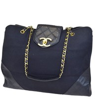 Auth CHANEL CC Super Model Quilted Chain Shoulder Bag Canvas Leather 52V216
