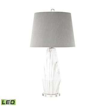 Sochi LED Table Lamp Polished Nickel,White Faux Marble