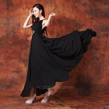 Fashion Women's Sleeveless Boho Bohemian Chiffon Summer Beach Long Maxi Dress AP