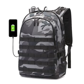 PUBG Backpack Men SchoolBag Mochila Pubg Battlefield Infantry Pack Camouflage Travel Canvas USB Charging Jack Back Knapsack Male