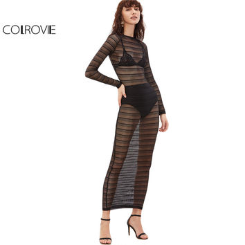 COLROVE Summer Maxi Dress Long Women Beach Wear Shift Dress Black Long Sleeve Sheer Striped Lace Maxi Dress