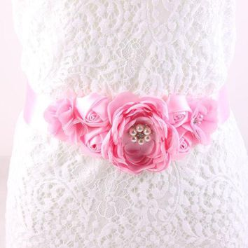 ESBU3C Maternity Sash Flower Sash Belt Bridesmaid Accessory Photo Prop Baby Shower Newborn Flower Belt Bridal Wedding Accessories