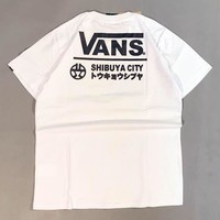 Vans Summer Fashion New Bust Letter Print And Back Letter Print Couple Top T-Shirt White