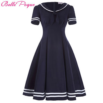 Belle Poque Women Summer Dress 2017 Vintage Dress Short Sleeve Bow Decor Dress Vestidos Sailor Collar Preppy Style Femme Dress