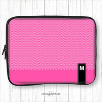 Personalized laptop sleeve, macbook, macbook pro, macbook air, universal, 10, 11, 13, 15, monogram, monogrammed, case, chevron, hot pink