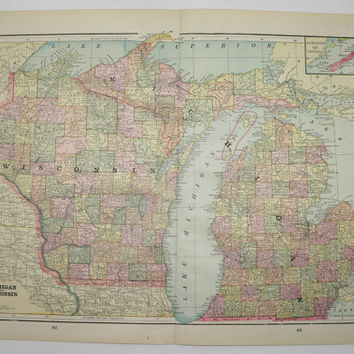 Real 1800s Map of Michigan Wisconsin Map, Upper Peninsula Illinois Map, Indiana 1894 Vintage Map, Unique Birthday Gift, Collectable Map
