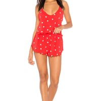 Wildfox Couture Falling Hearts PJ Set in Red Flare | REVOLVE