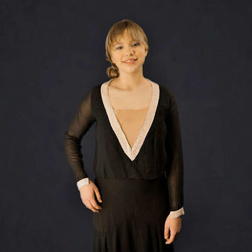 20's Black Silk Chiffon Beaded Flapper Dress