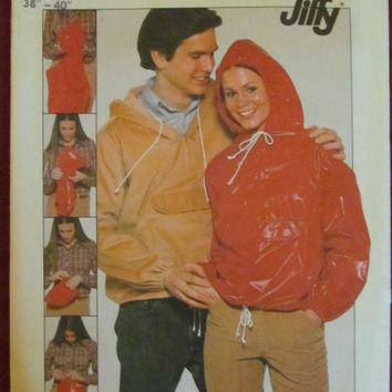SALE Uncut 1970's Simplicity Sewing Pattern, 8110! Size Large Unisex Rain jackets/Hoodies/Coats/Jackets/Hooded Tops, Hippie Casual