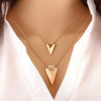 N163 Multilayer Necklaces For Women Triangle Pendant Collares Minimalist Jewelry Double Layer Dainty Necklace One Direction