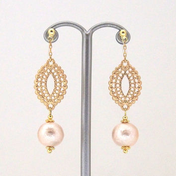 Popular in Japan! Gold Oriental Motif and Japanese Pink Cotton Pearl Invisible Clip on Earrings, Wedding Clip-on Earrings, Non Pierced