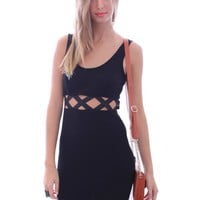 Little Black Body Con Dress with Midwaist X Cut Outs