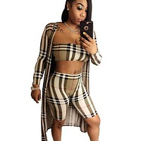 Burberry New fashion plaid long sleeve coat and top and shorts three piece suit women Khaki