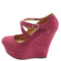 Crisscrossing Mary Jane Platform Wedges