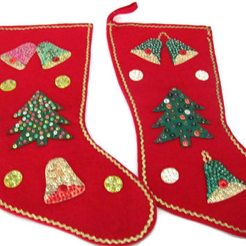 Vintage Christmas Stockings, 1960's Felt Christmas Stocking,  Felt Sequin Stocking, Christmas Trees, Bells, Christmas Decor