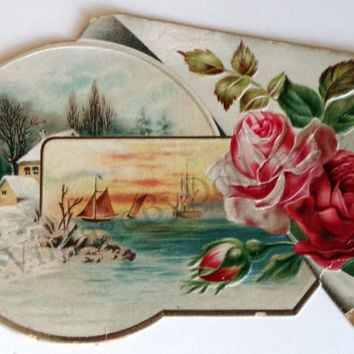 Antique Trade Card- Victorian Die Cut Winter Scene-German Yeast Company- 1800s Advertising Ephemera Collectible Embossed Litho Illustration